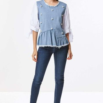 Pearl Denim Peplum Top