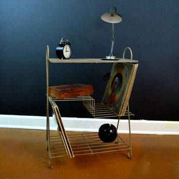 Tan Metal Record Stand, Vintage Wire Three Shelf Record Storage, Record Player Stand, Mid Century