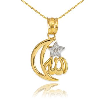 10k Gold Diamond Crescent Moon Allah Pendant Necklace
