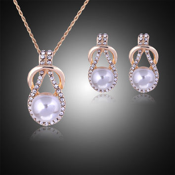 Woman plating silver gold chain necklace Crystal earrings CZ diamond imitation pearl pendant necklace ball drops jewelry Set