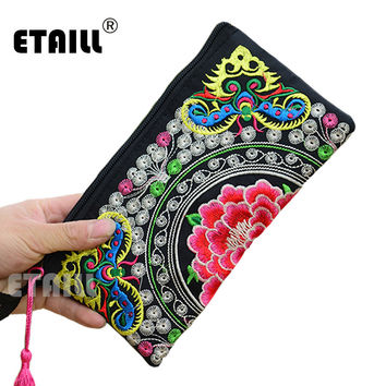 Hmong Thai Indian Embroidered Wristlet Bag Clutch Purse Boho Ethnic Phone Money Bag Famous Top Brand Clutches Embrague Bolsos de