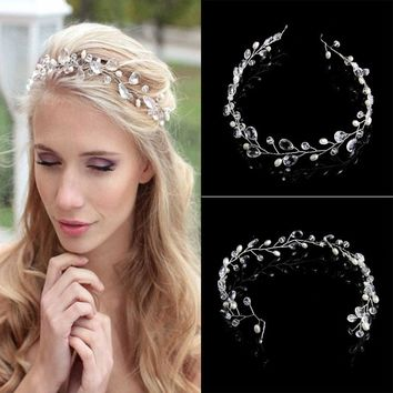 New Wedding Hair Accessories Clips Vintage Faux Crystal Pearl Tiara Drop Bridal Headband Flower HairPin Clips