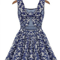 Blue and White Summer Dress With Bow