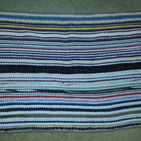 Colorful Vintage Woven Rag Rug with Fringed Ends - 23in x 32 1/2in