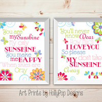 Bright Colorful Nursery Art You are My Sunshine Girls Room Art Prints Butterfly Decor Pink Green Prints Set of 2 Art Prints Toddler Girl