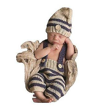 Newborn Crochet Knit Overall & Hat Set