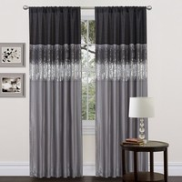 Ciara Sequin Black Gray Faux Silk Lined Panel Curtain