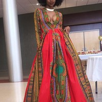 Red Floral African Patterns Print Long Sleeve Floor Length African Prom Boho Maxi Dress