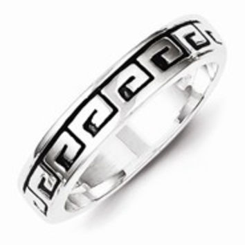 Sterling Silver Greek Key Antiqued Wedding Band Ring