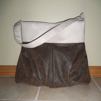 Faux Brown Embossed Leather & Suede- Handbag Tote Purse Hobo Diaper Bag- Medium