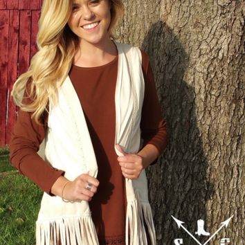 Gracie's Ivory Leather Vest with Fringe