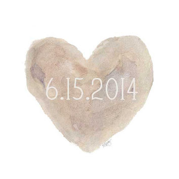 Custom Date Watercolor Painting Heart 8x10 Wedding, Nursery, Newborn Natural French Country Shabby Chic Style Cottage
