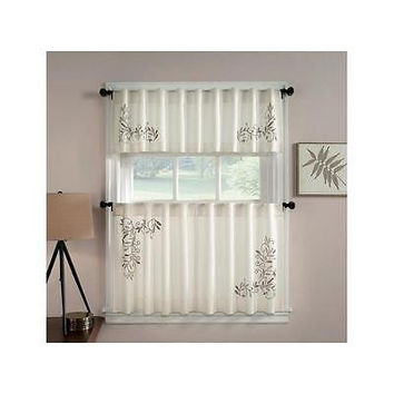 Chf Industries Scroll Leaf Tailored Tiered Kitchen Curtain - One Pair- Ivory- 5