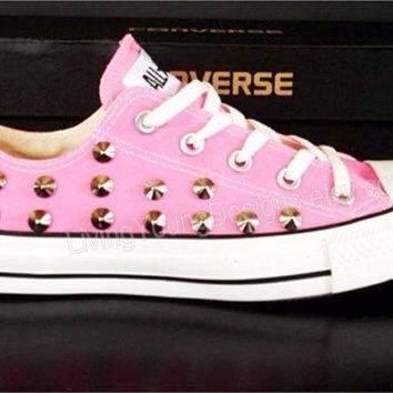 CREYUG7 STUDDED CONVERSE SALE Pink Studded Converse Shoes Sale Custom Shoes All Star Chuck