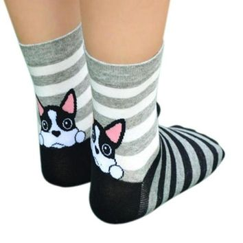 Cute Animals Puppy Footprints Cotton Socks Funny Crazy Cool Novelty Cute Fun Funky Colorful