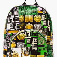 GREEN MULTICOLOR CANVAS M.I.A EDITION LOGO-PRINTED BACKPACK
