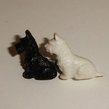 Pin, Brooch, Scotty Dog pin, Made in Great Britain, Scottish Terrier, Girls pin, 1960s vintage, Scotty dog, white and black, Gift for her