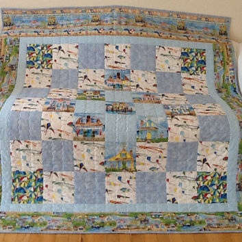 Summer Seaside Village Beach Quilt, Beach Huts, Cottage Quilt, Handmade Quilt, Large Lap Quilt, 64 x 71 inches Free Shipping Canada and USA
