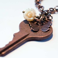 Vintage Key, Butterfly and Carved Flower on Bronze Chain - Unique O...... | MissLadysmith - Jewelry on ArtFire