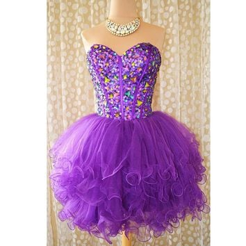 Sexy Short Purple Cocktail Dresses 2016 Sweetheart Beaded Sequins Sparkly Party Dress Tulle Ruffles Lace Up Prom Dress