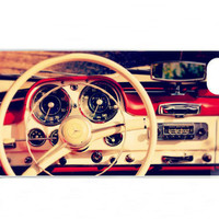 iPhone Case, Vintage Car, Classic Car, Summer, Red and White, Sunny, Mercedes Benz, iPhone 4 and 4s Accessory, White Case