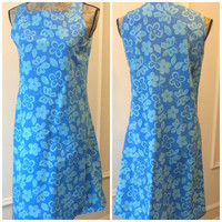 1960's Vintage Shift Dress - Blue Shift Dress - Butterflies & Flowers n Leafs - Sleeveless - Blue and White - Print - Pattern