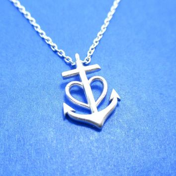 Tiny Heart Shaped Anchor Charm Nautical Themed Necklace in Silver | DOTOLY