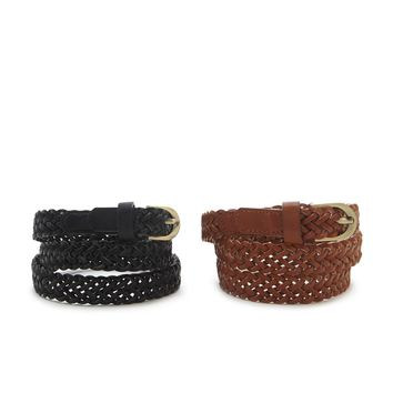 Braided Faux Leather Belt Set