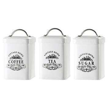 Canister Set White Metal 3 Piece Retro Vintage Tea Coffee Sugar
