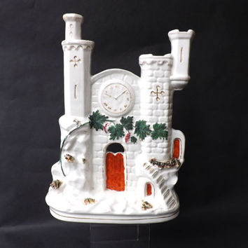 Antique Staffordshire Flat Back Figure of a Castle / Victorian Figurine, Fireplace Pottery Clock / English Castle, Collectors Pottery