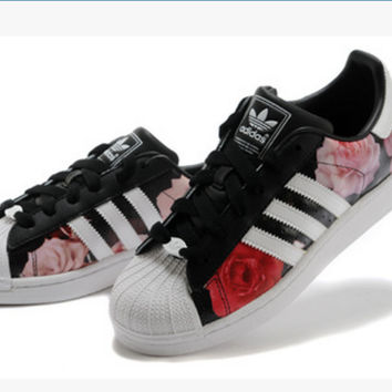 """Adidas"" Fashion Shell-toe Flats Sneakers Sport Shoes Roses"