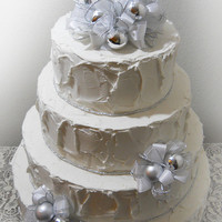 Ready to Ship! Silver Christmas Ball Cake Topper, with 2 matching picks. Christmas Wedding Cake Topper.