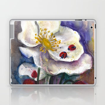Lady Birds, Strawberry Flowers Laptop & iPad Skin by MIKART