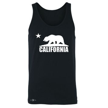 Zexpa Apparel California Bear White Star Men's Jersey Tank State Flag Cali CA Sleeveless