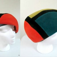 Vintage Mod Hat / Colorblocked Hat / 1960s Felted Wool Multicolored Cloche