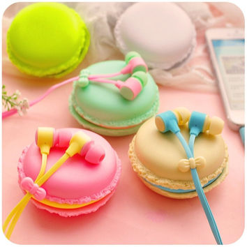 2015 bests macaroon Earphones 3.5mm in-ear earphone with macaroon case&Mic for Xiaomi Samsung Sony Apple iphone phone