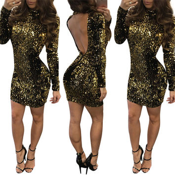 2017 Spring O Neck Women Slim Bodycon Casual Dress Backless Sequined Sexy Party Club Clothing Ladies