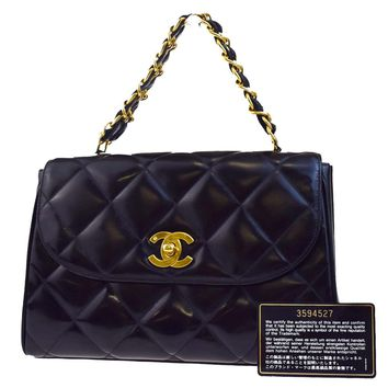 Authentic CHANEL CC Quilted Chain Hand Bag Patent Leather Black Vintage 71L308