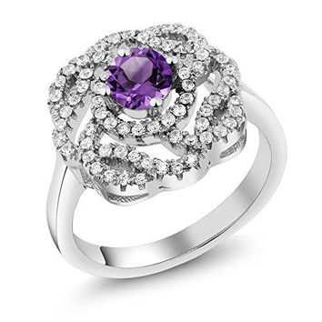 148 Ct Round Purple Amethyst 925 Sterling Silver Flower Shape Ring Available 56789