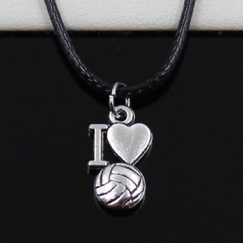 New Fashion Tibetan Silver Pendant i love volleyball Necklace Choker Black Leather Cord Factory Price Handmade jewelry