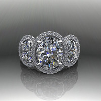 Three Stone Oval Engagement Ring Forever Brilliant Moissanite and Diamond 4.85 CTW