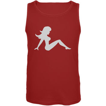 Mudflap Girl Silhouette Red Adult Tank Top