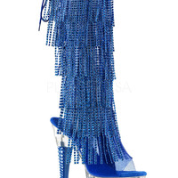 Blue Rhinestone Fringe Knee High Stripper Boot