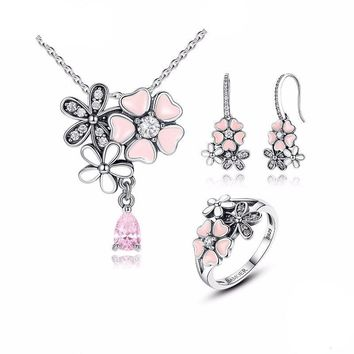 Pink Flower Daisy Cherry Blossom Jewelry Set 100% 925 Sterling Silver