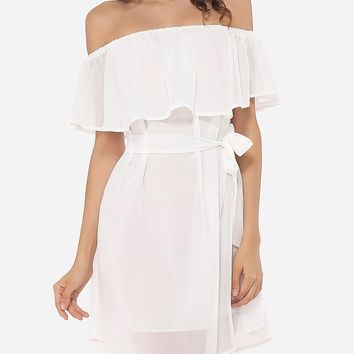 Casual Plain Falbala Captivating Off Shoulder Skater-dress