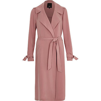 Pink belted duster trench coat - Coats - Coats / Jackets - women