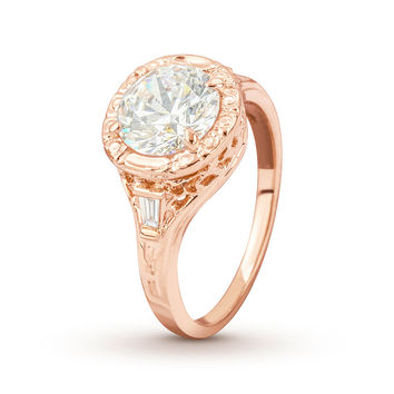 Mounting Only - Antique Filigree Rose Gold Engagement Ring