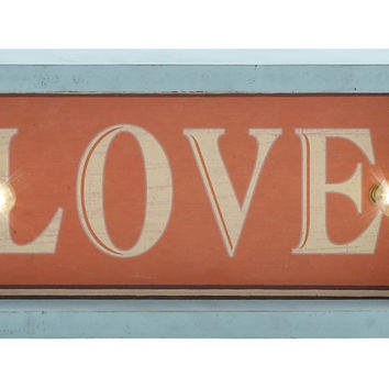 "Attractive Wood Led Wall Love Sign 12""W, 6""H"