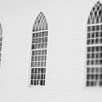 Architecture Photograph, Black and White Photo, Ethereal Print, Lensbaby, Church Photo, Grey, Winter Snow, Wall Decor, Fine Art Photography