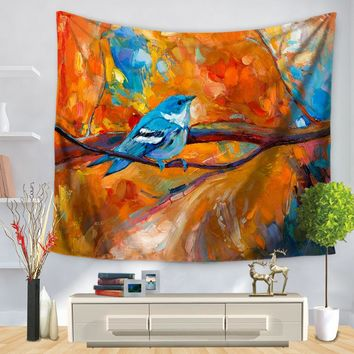 SunnyRain 1-Piece Artistic Scenery Tapestry Warm Colors Painting Tapestry Indian 130cmx150cm 150cmx200cm Boho Wall Carpet